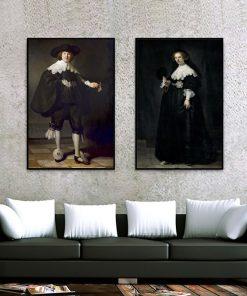 Marten Soolmans and Oopjen Coppit wedding Made by Rembrandt Van Rijn, Famous Painting print on Canvas Wall Art Portrait Pictures