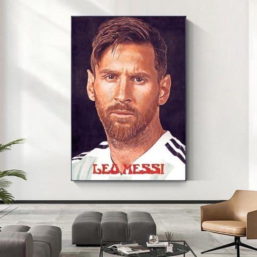 Football Sport Star Leo Messi PosterPrint Poster Sports Art Banner Football Fan Kids Wall Decor Home Decoration Cuadros