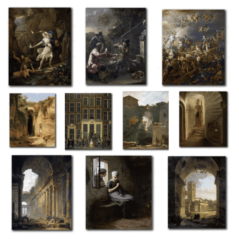 Classic Masterpieces after 11 Artist Printed on Canvas