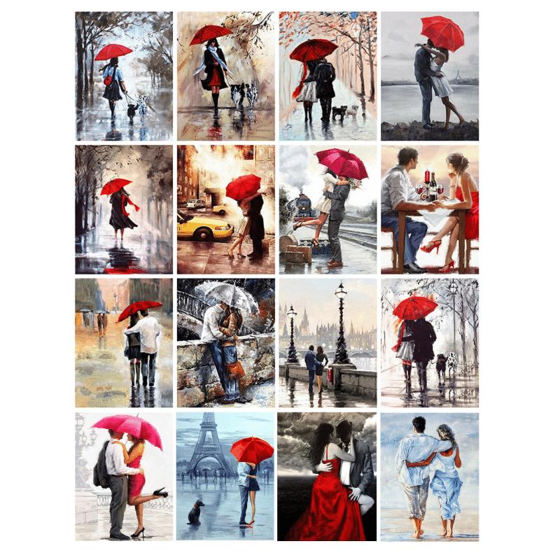 Couple Rain Umbrella Oil Paintings