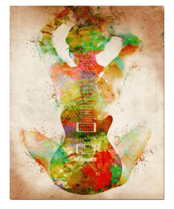 Abstract Figure With Guitar Painting Printed on Canvas 1