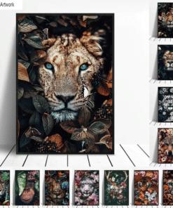 Artwork Paintings Animal In Flowers Printed on Canvas