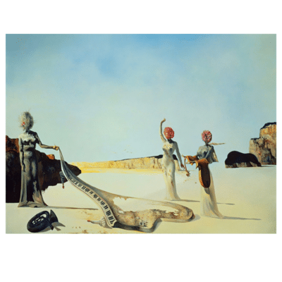 Three young surrealist women holding in their arms the skins of an orchestra
