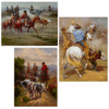 Oil Paintings Cowboys Herding the Cows Printed on Canvas